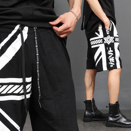 English Flag Graphic Printing Short Sweatpants 033
