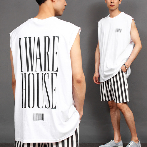 Barcode Graphic Printing Sleeveless Boxy Tee 008