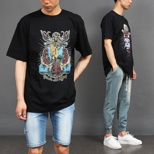 Street Fashion Graphic Printing Short Sleeve Tee 281