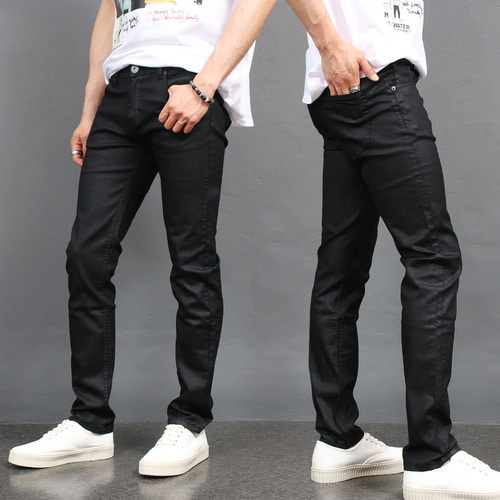 Wax Coated Black Summer Slim Fit Jeans 077