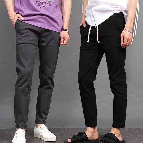 Slim Fit Waistband Basic Jogger Pants 092