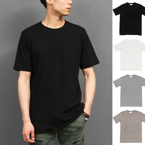 Layered Styling Hem Pocket Short Sleeve Tee 288