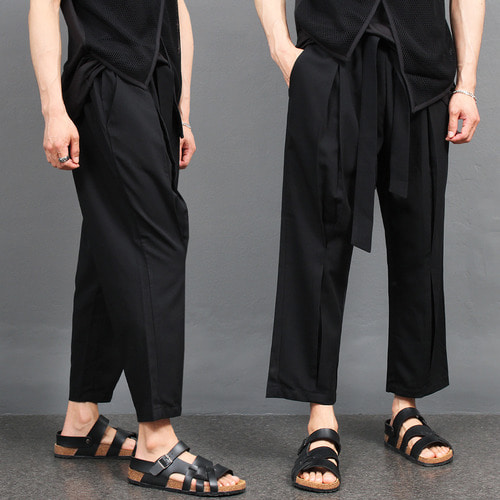 Elasticized Waistband Wrinkle Strap Belt Slacks Pants 033