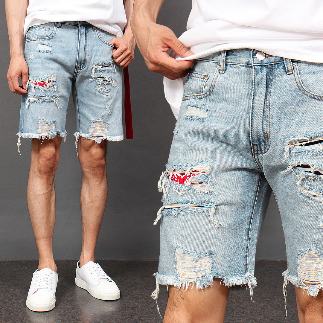 Vintage Distressed Faded Patch Loose Fit Denim Shorts 043