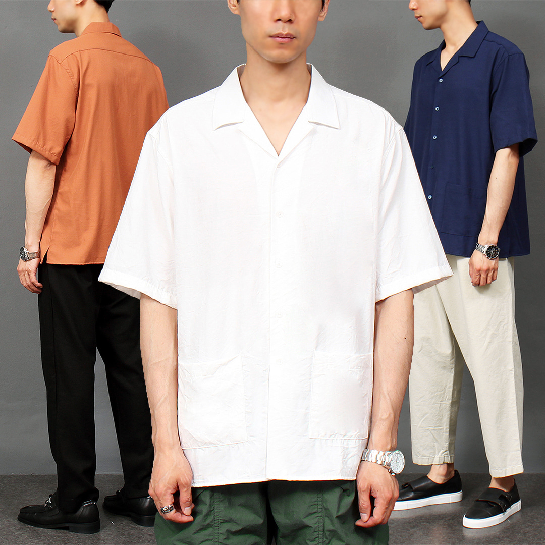 Loose Fit Linen Pocket Boxy Short Sleeve Shirt 045