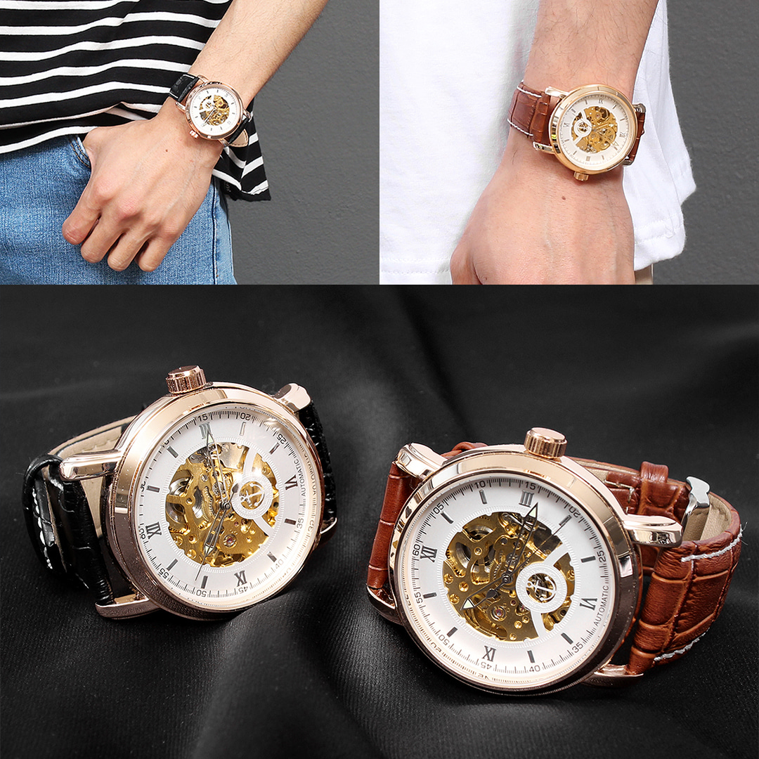 Self Winding Transparent Mechanical Movement Leather Strap Watch 017