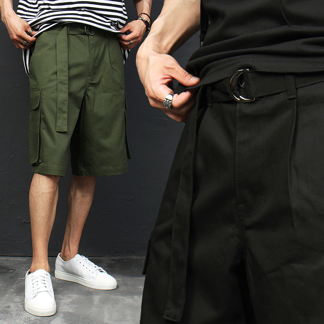 Strap Belt Low Crotch Cargo Pocket  Short Sweatpants 009