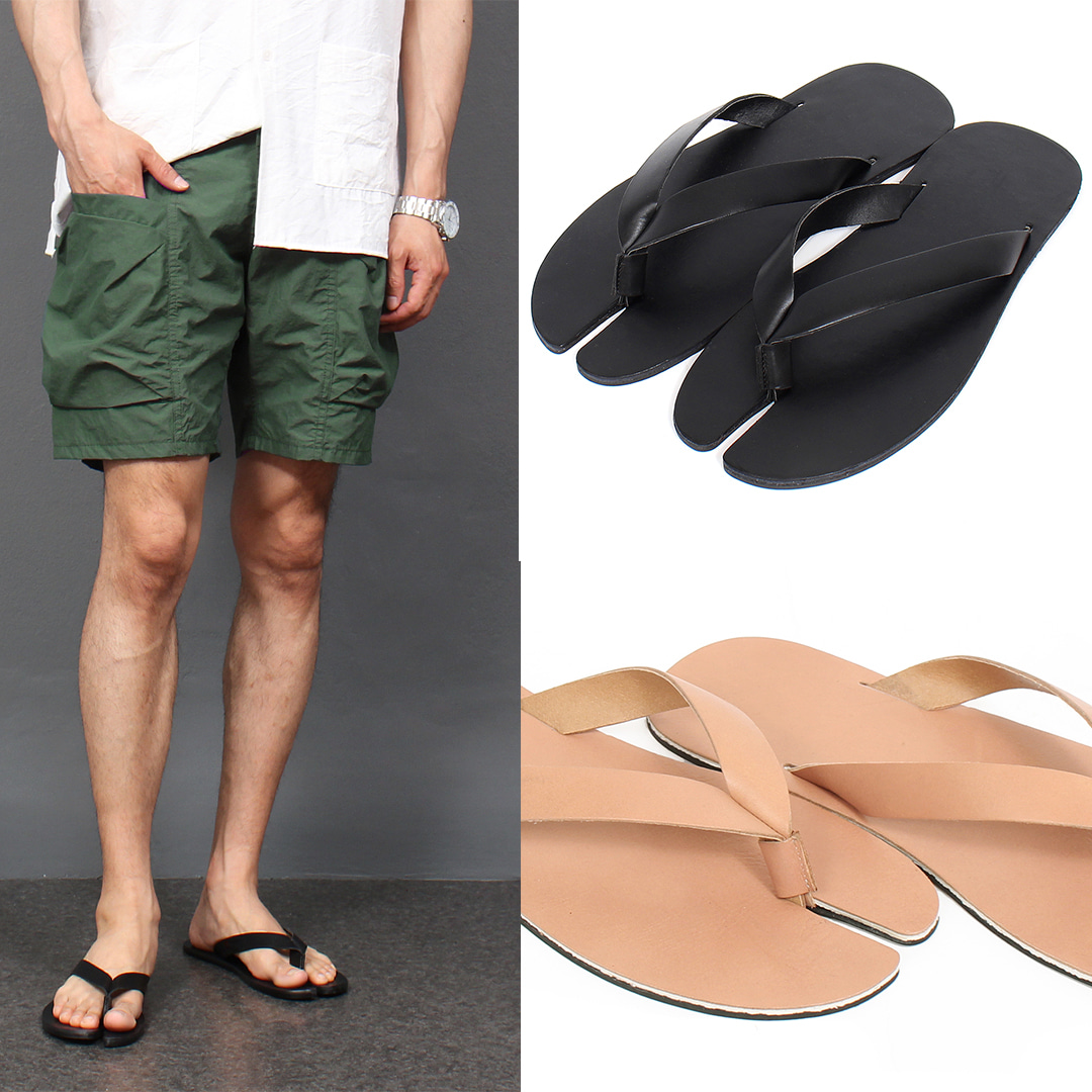Cowhide Leather Tabi Toe Flip Flops 004