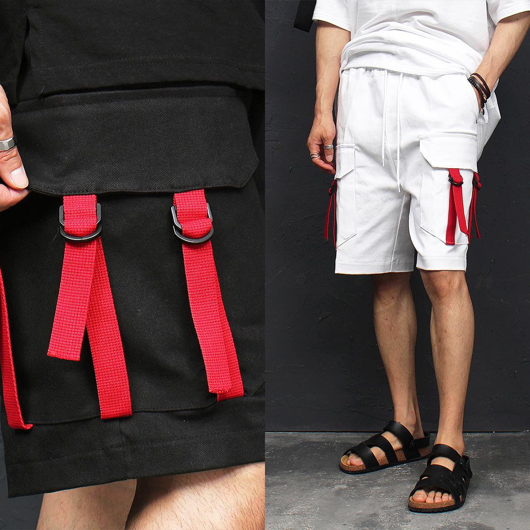 Big Cargo Pocket Red Buckle Strap Half Pants 009