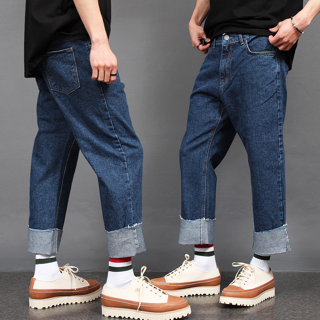 Straight Standard Fit Cut Hem Roll Up Blue Jeans 058