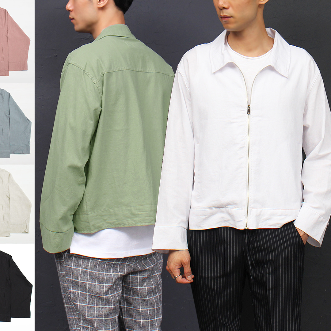 Loose Fit Linen Zip Up Summer Jacket  023