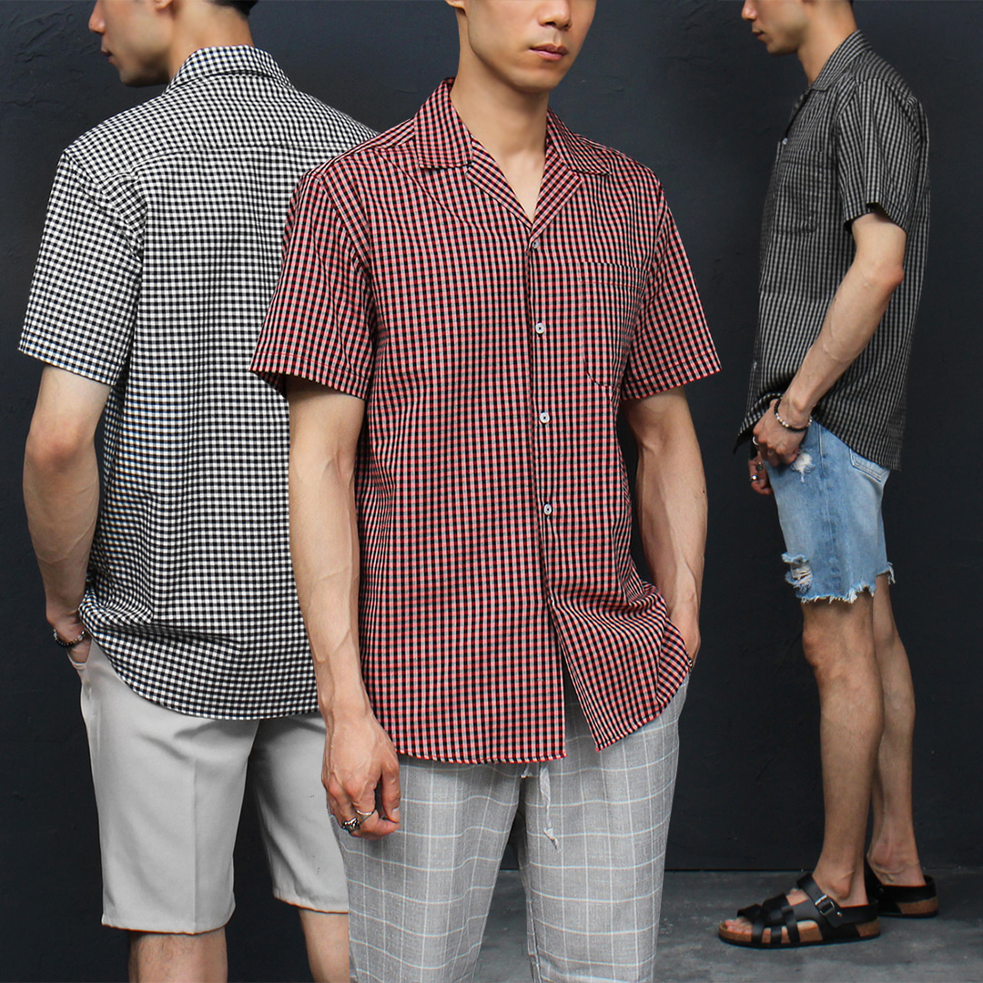 Standard Fit Checkered Pattern Short Sleeve Shirt 047
