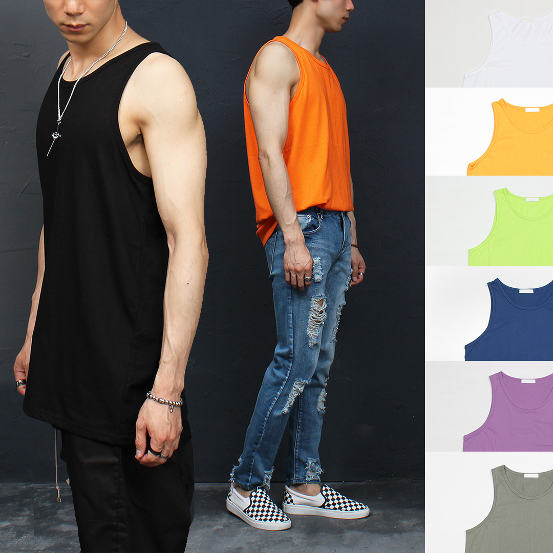 Loose Fit Vivid Color Sleeveless Long Tank 016