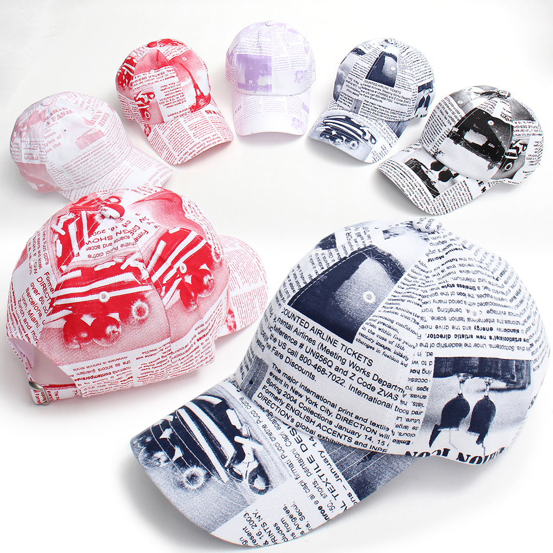 English News Paper Color Baseball Cap 022