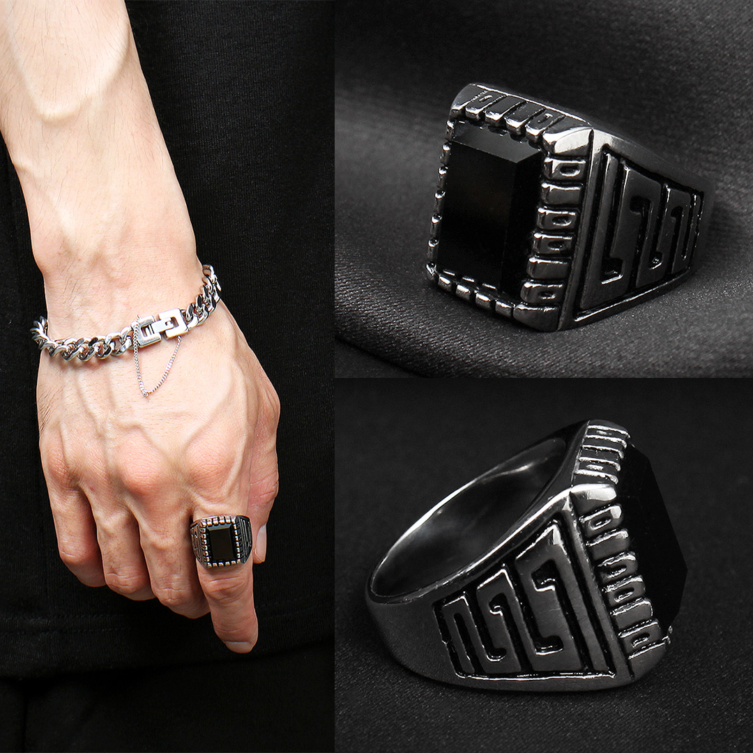 Black Onyx Surgical Stainless Steel Ring R62
