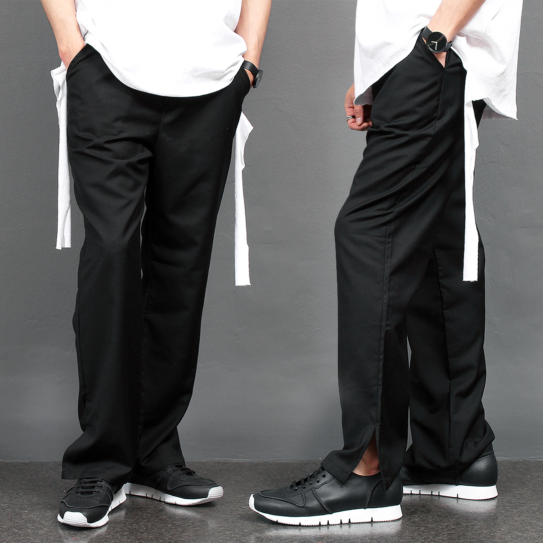 Split Hem Elasticized Waistband Wide Slacks Pants 020