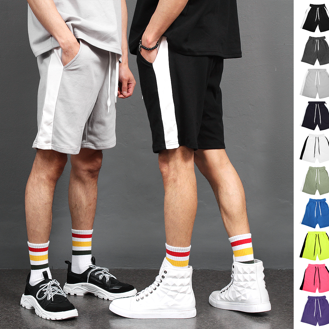 Side Contrast Line Color Short Sweatpants 006