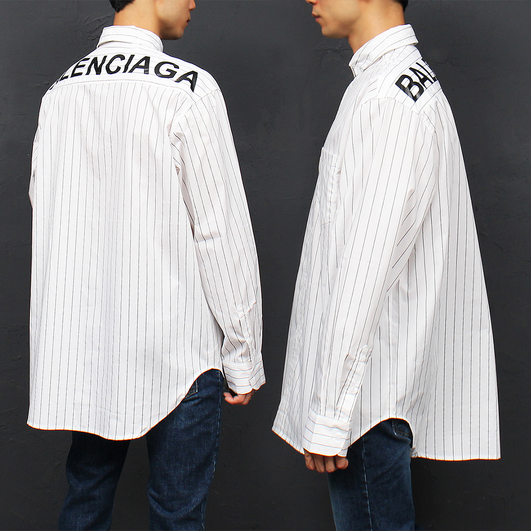 Logo Printing Shirttail Hem Striped Boxy Shirt 051
