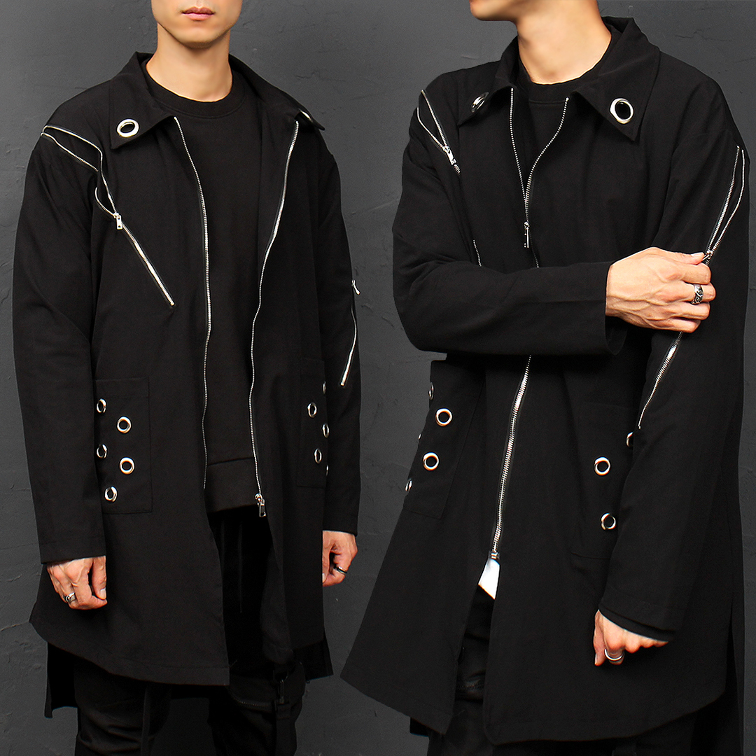 Techwear Eyelet Zipper Split Side Boxy Shirt Coat 003