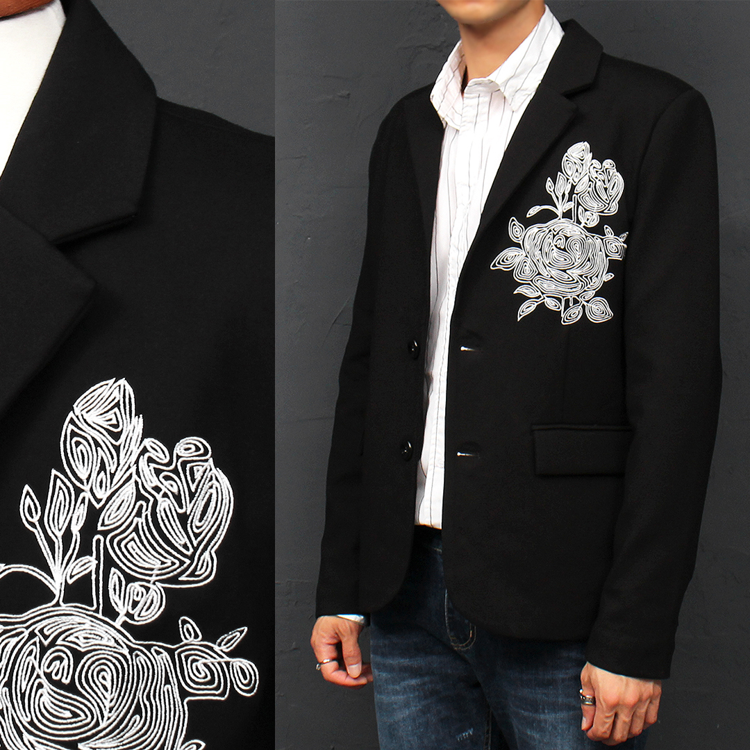 Slim Fit Flower Embroidery Black Jacket 025