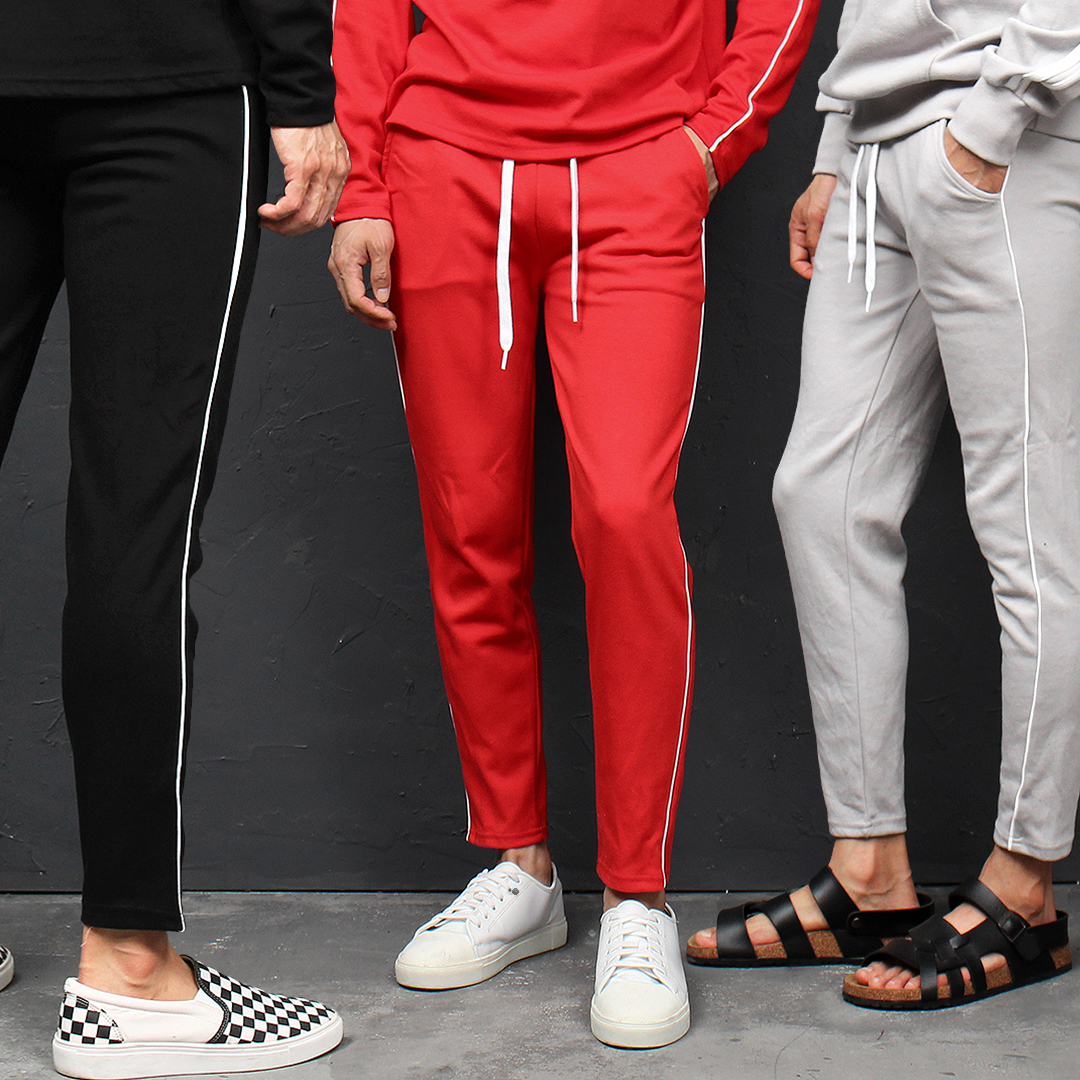 Side Piping Line Slim Sweatpants 097