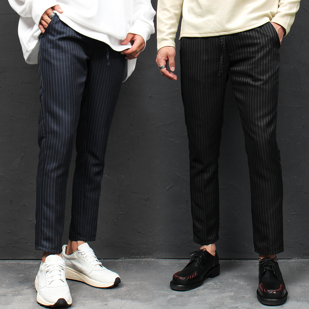 Elastic Waistband Striped Slim Slacks Pants 039