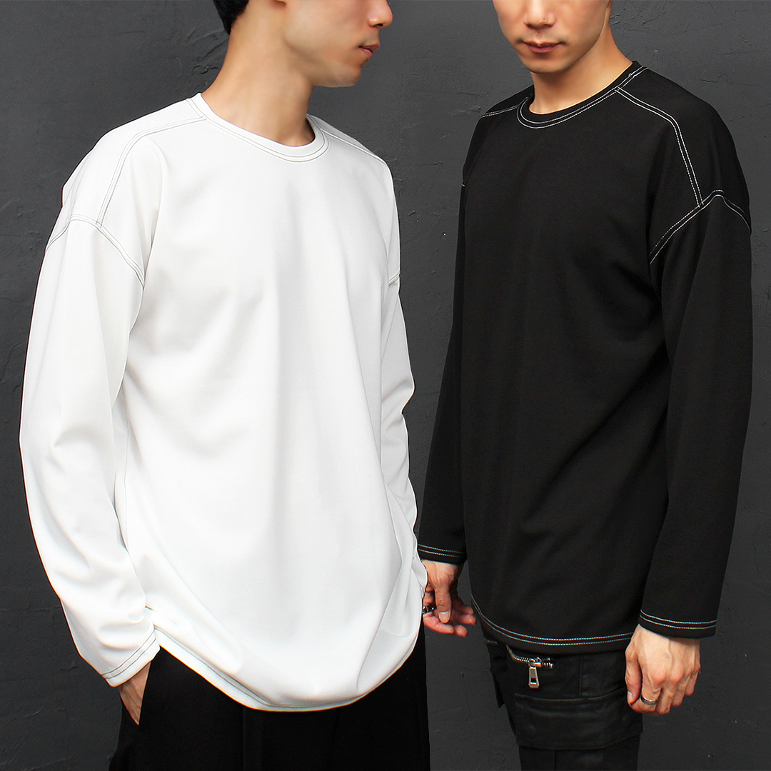 Loose Fit Contrast Stitched Boxy Long Sleeve Tee 043