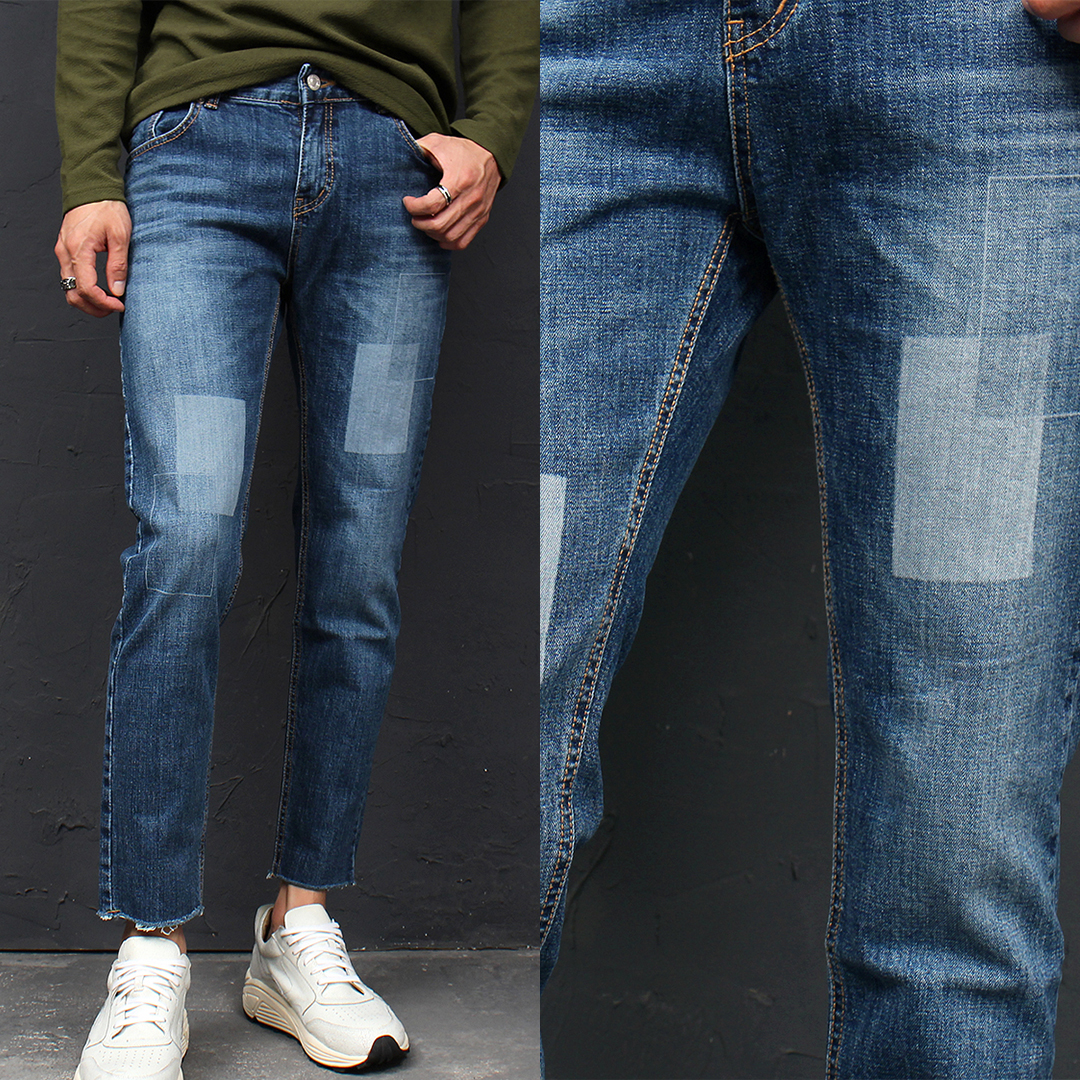 Cut Off Hem Faded Square Washed Blue Skinny Jeans 091