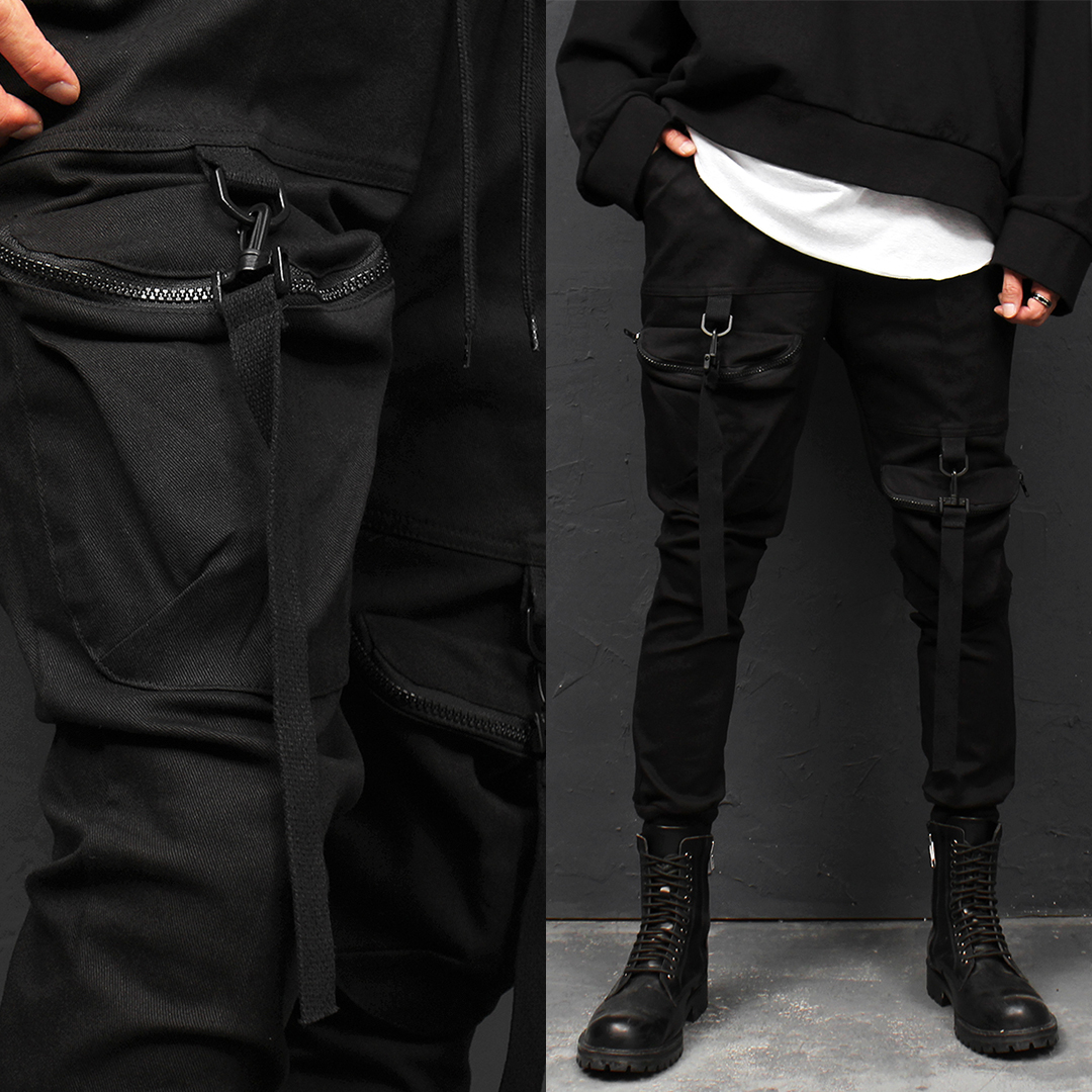 Techwear Unbalanced Zip Pocket Jogger Pants 013