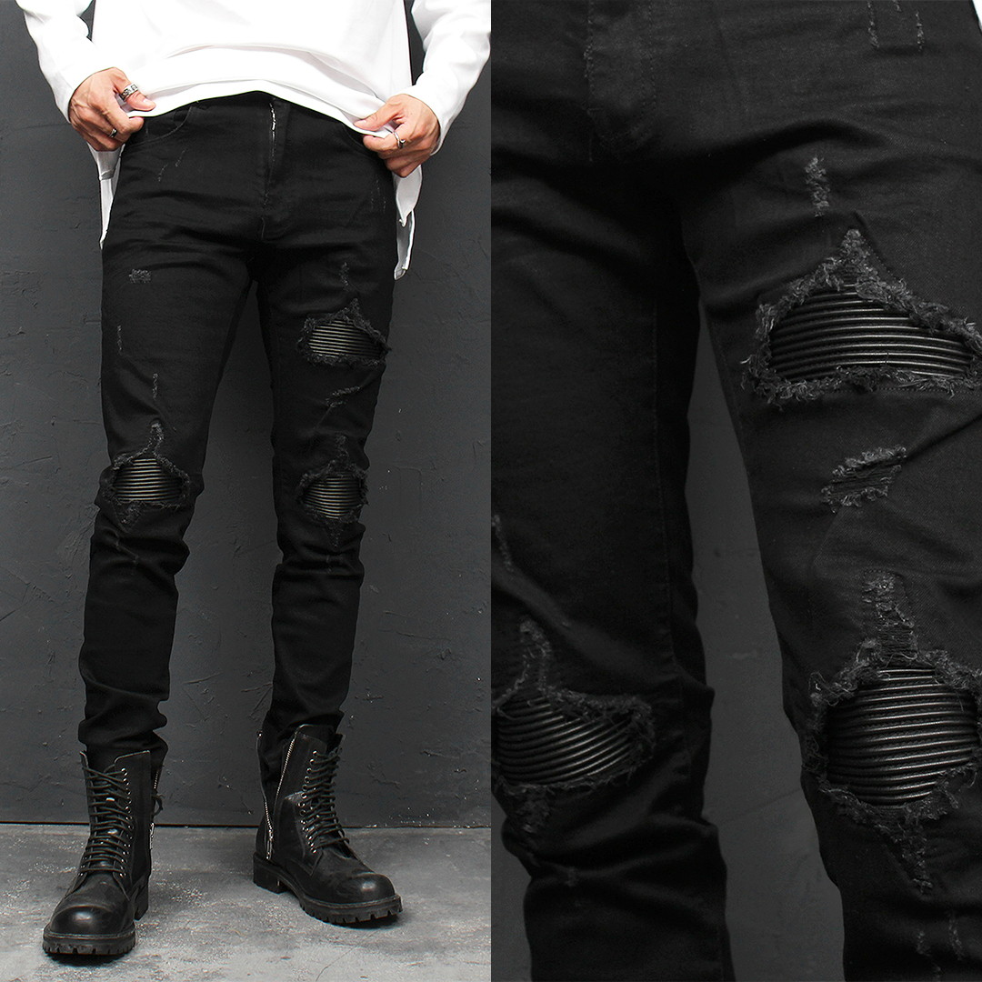 Distressed Destroyed Leather Panel Black Skinny Jeans 105