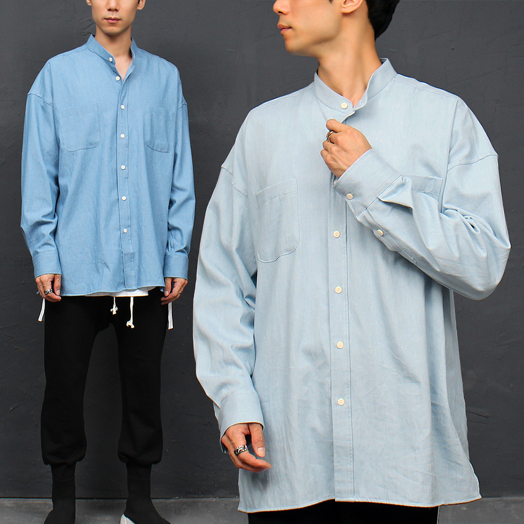 China Neck Collar Split Side Boxy Denim Shirt 060
