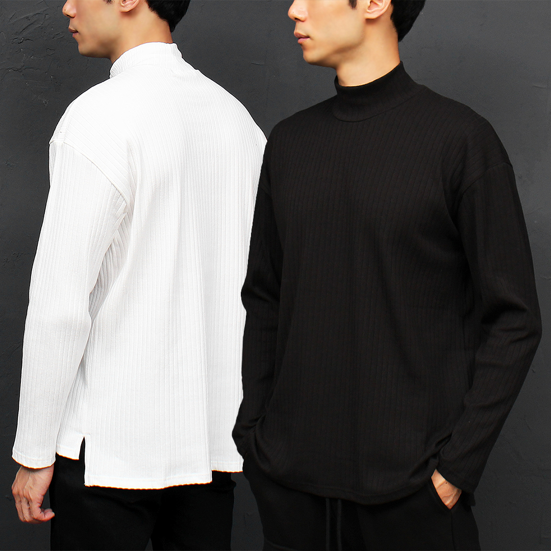 Corduroy High Neck Split Side Long Sleeve Tee 050
