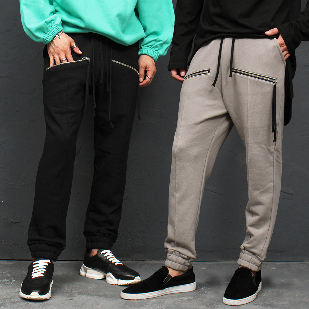 Zippered Pocket Elastic Hem Baggy Jogger Sweatpants 115