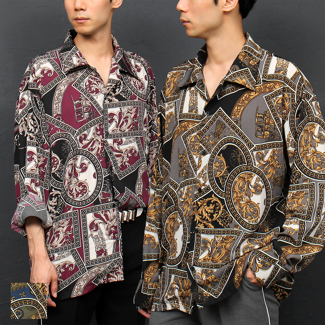 Antique Graphic Printing Loose Fit Boxy long Sleeve Shirt 066