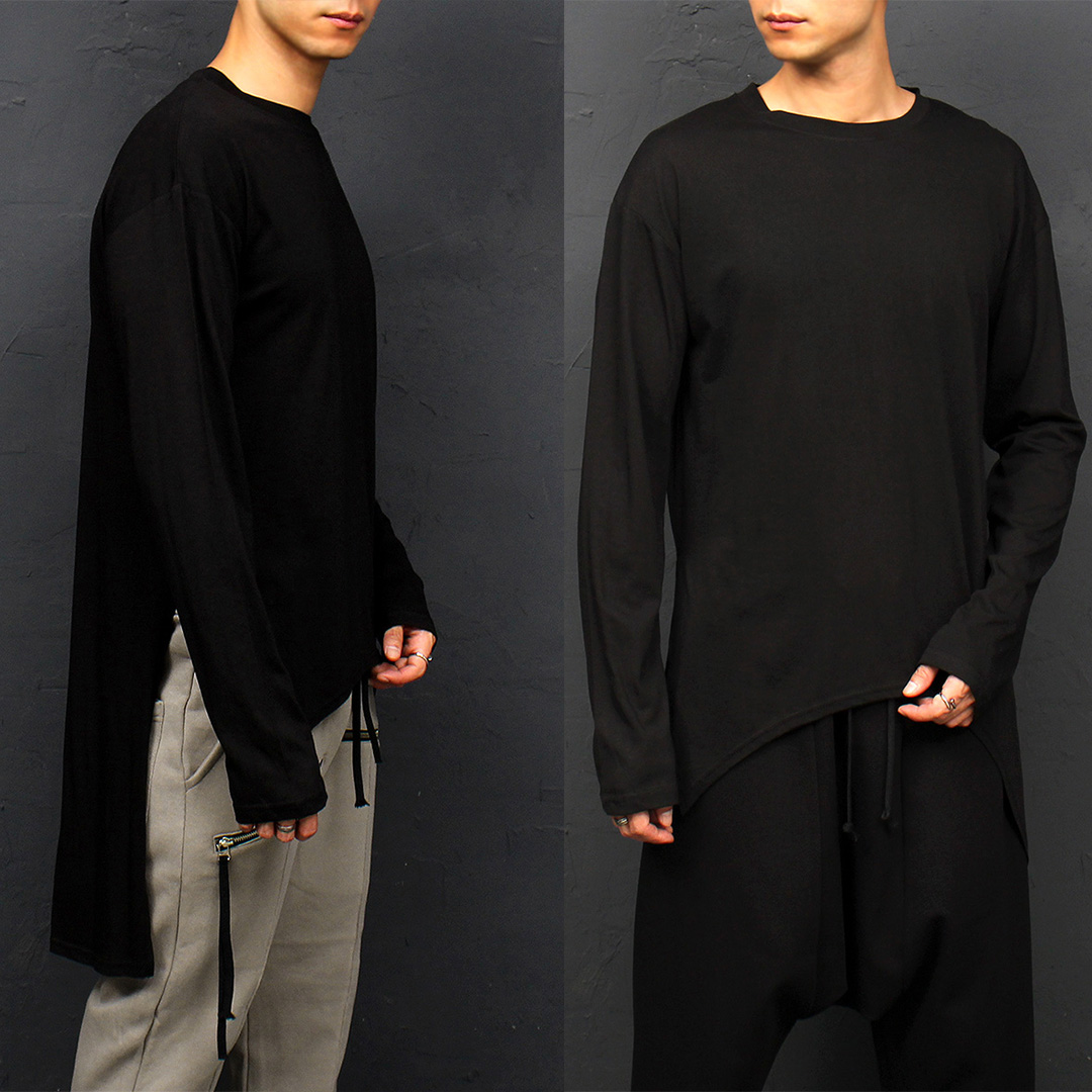 Unbalanced Long Back Hem Split Side Boxy Long Tee 056