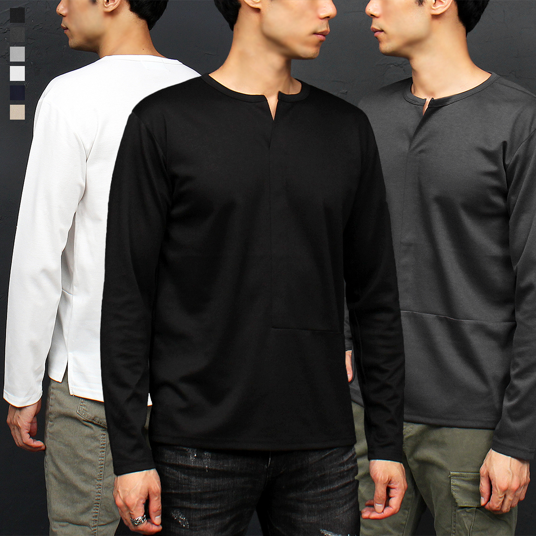 V Split Collar Unbalanced Split Hem T Shirt 051