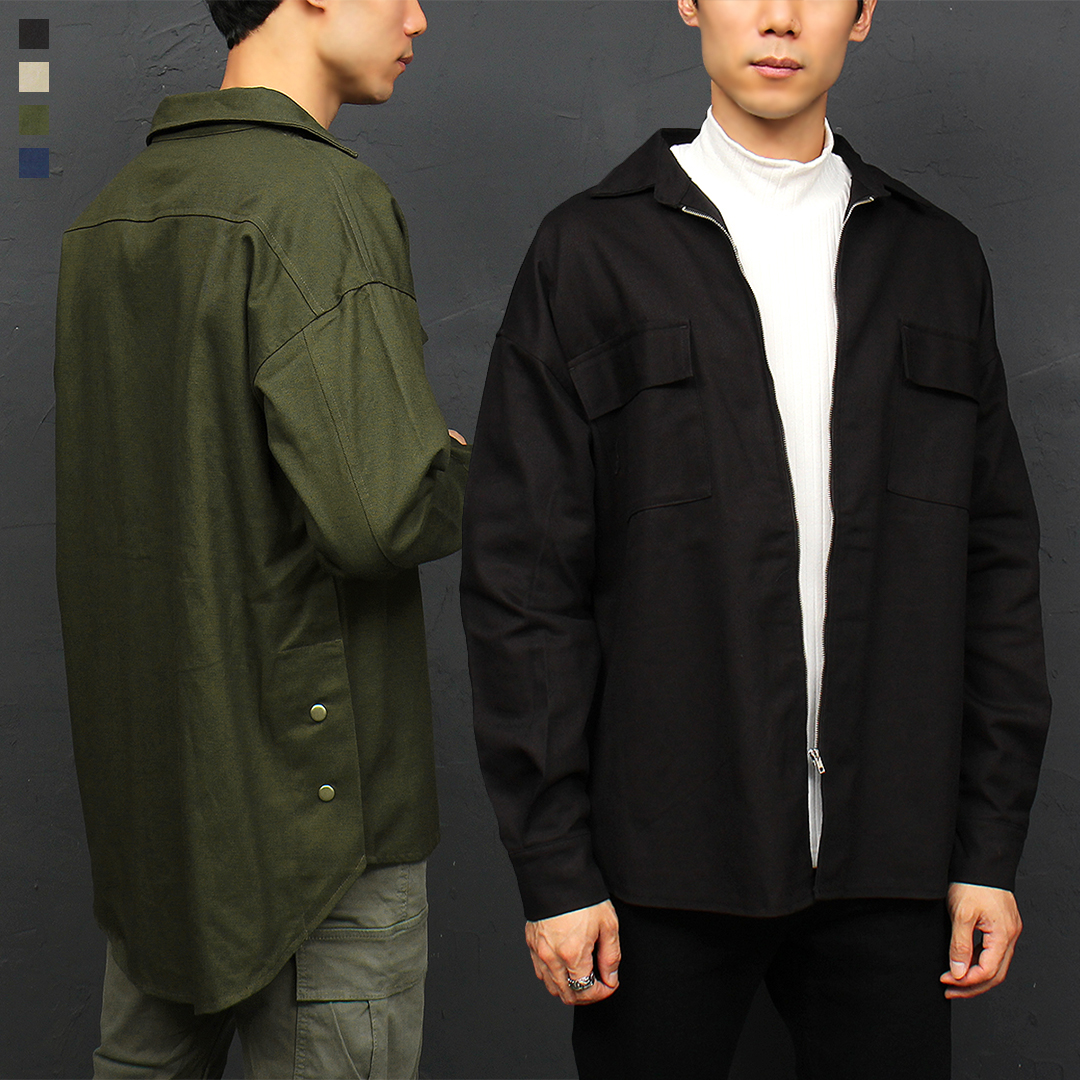 Split Side Snap Button Zip Up Shirt Jacket Shirket 031