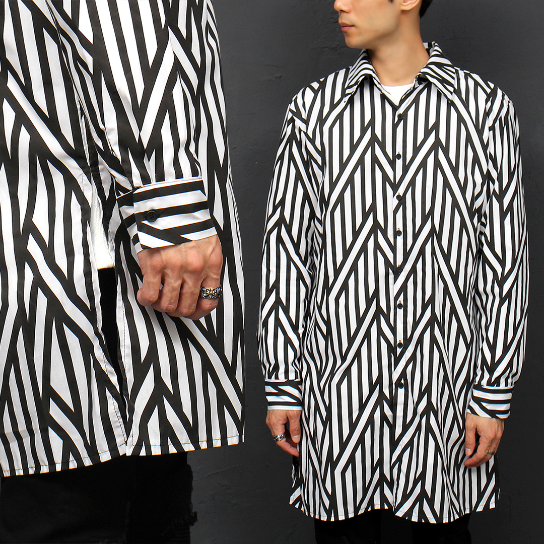 Striped Pattern Split Side Boxy Long Shirt 069