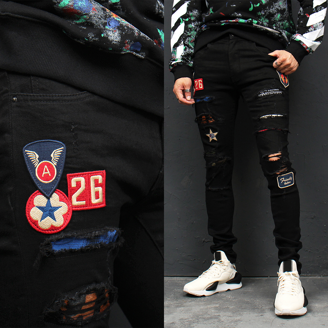 Distressed Panel Stitched Wappen Patch Black Skinny Jeans 106