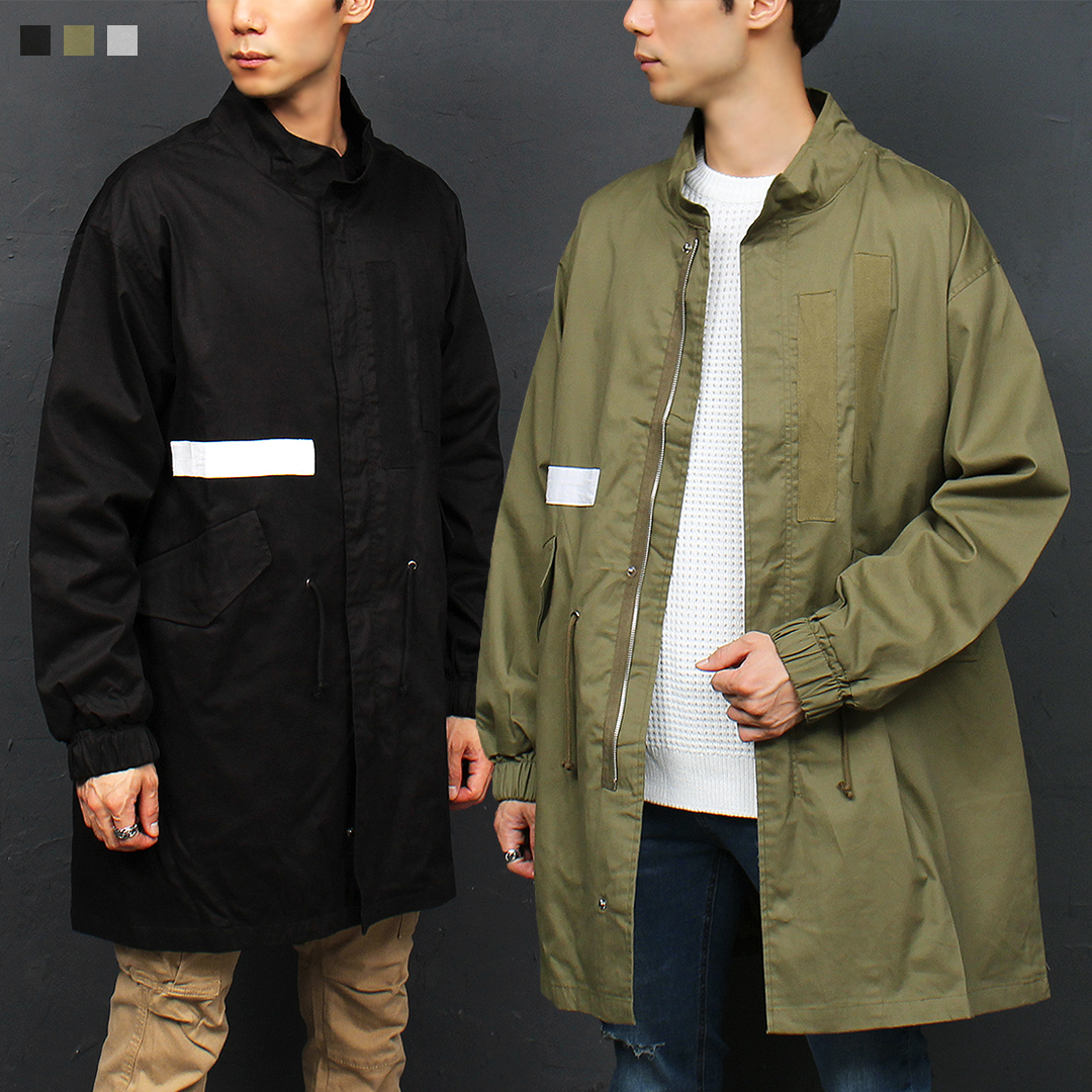 Military Patched Styling High Neck Zip Up Jacket 029