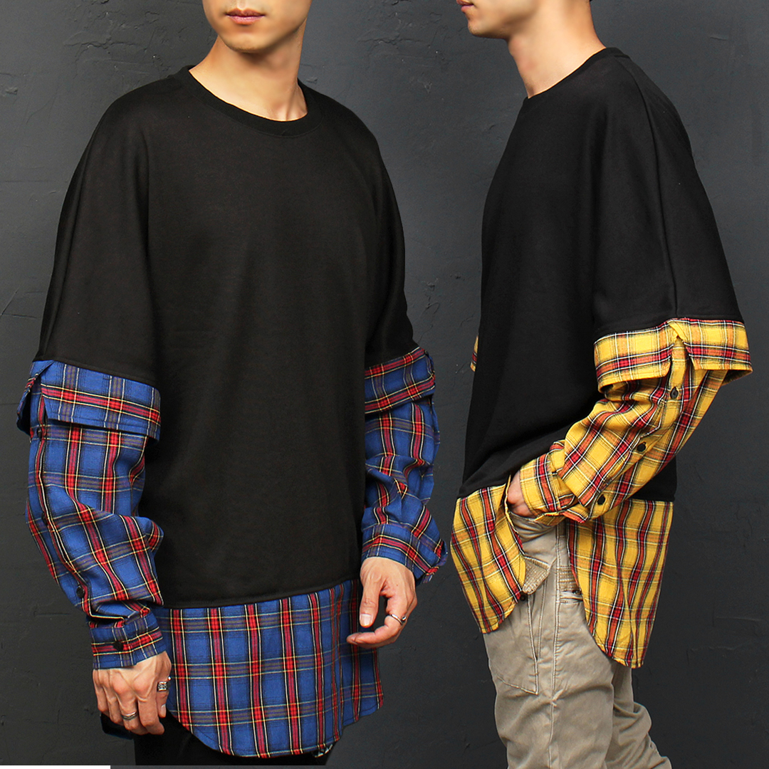 Check Shirt Layered Styling Long Tee 054