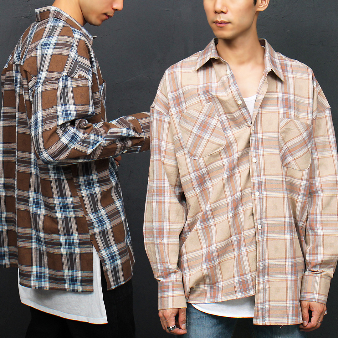Color Checkered Pattern Brown Beige Boxy Shirt 065