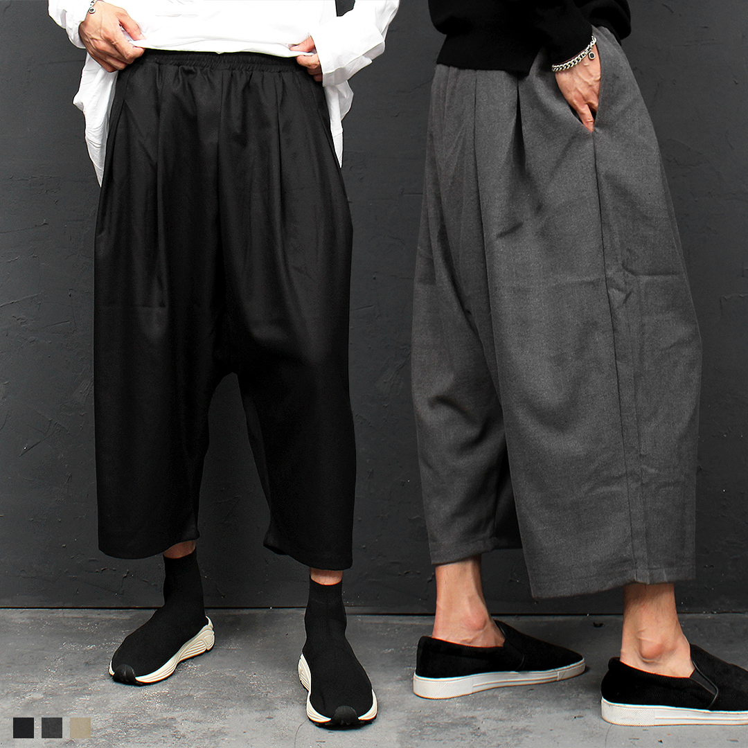 Elastic Waistband Low Crotch Wide Wool Baggy Pants 049