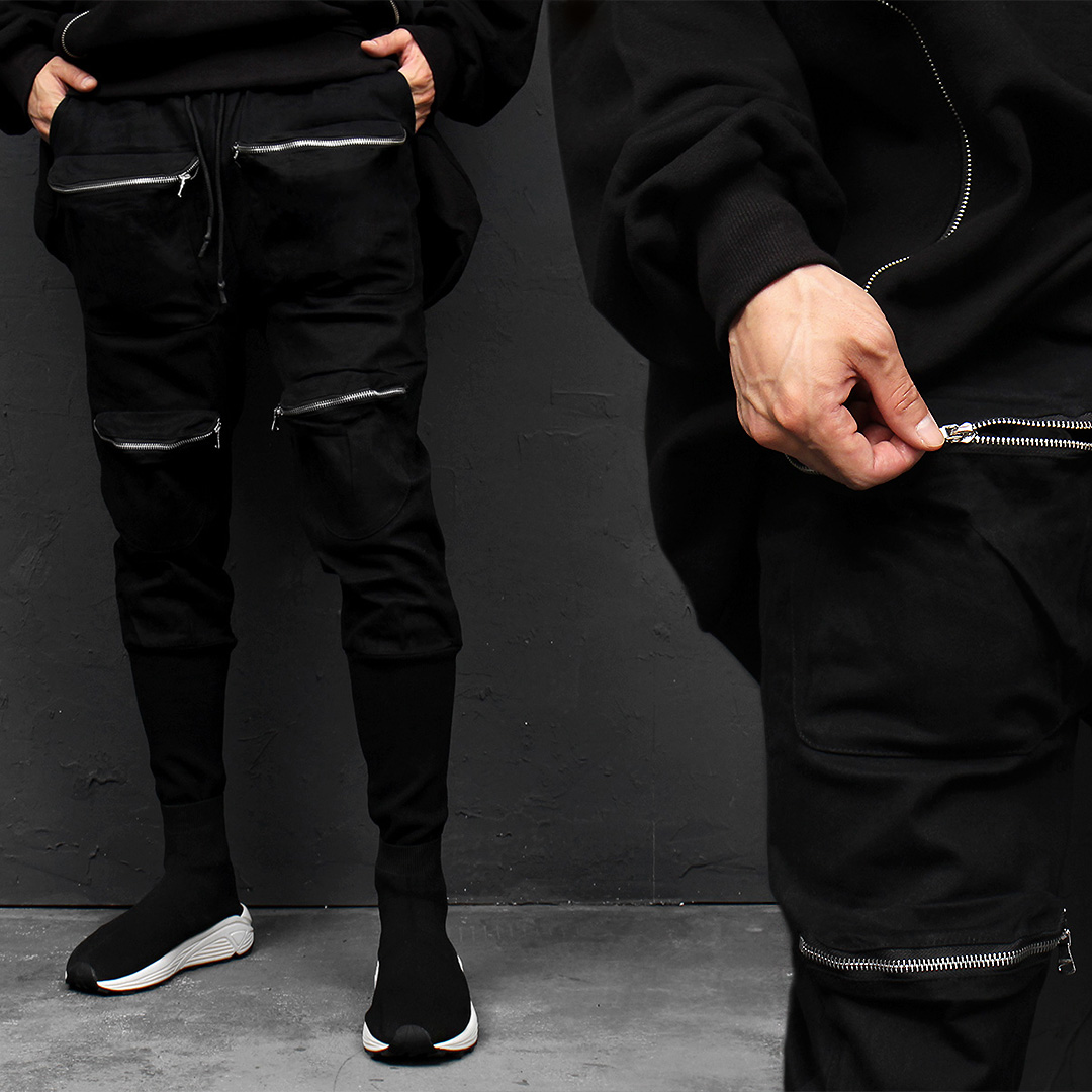 Tech Wear Zipper Pocket Long Ribbed Hem Pants 016