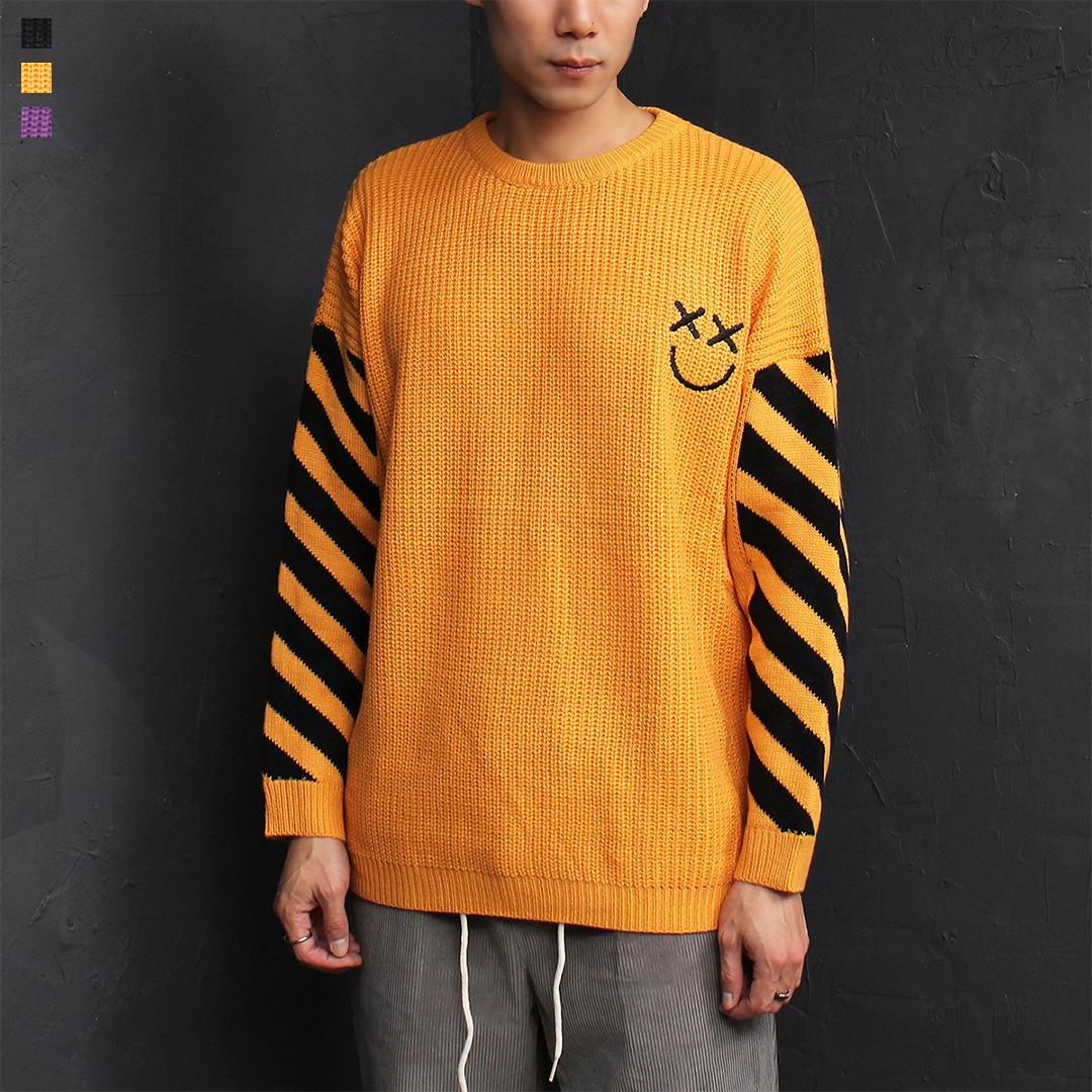 Smile Logo Sleeve Stripe Boxy Knit Jumper 022