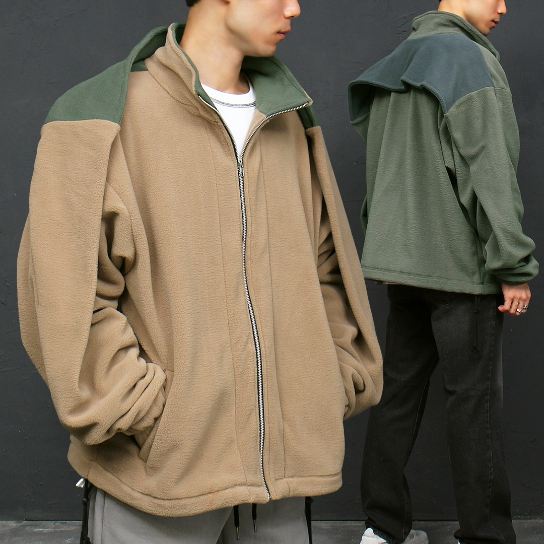 Loose Fit Color Zip Up Fleece Jacket 018