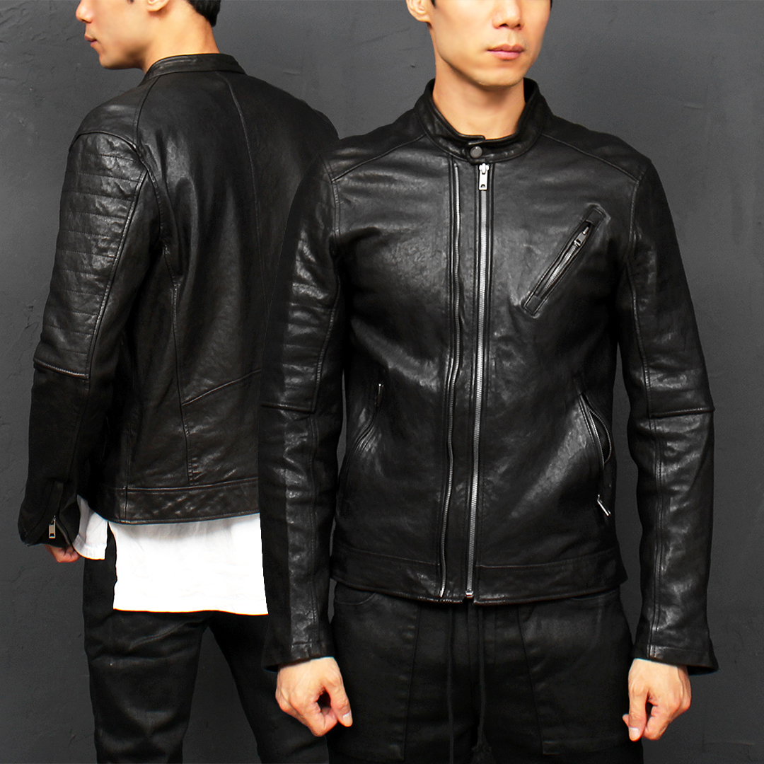 Band Neck Collar Double Zipper Lambskin Leather Rider Jacket 003