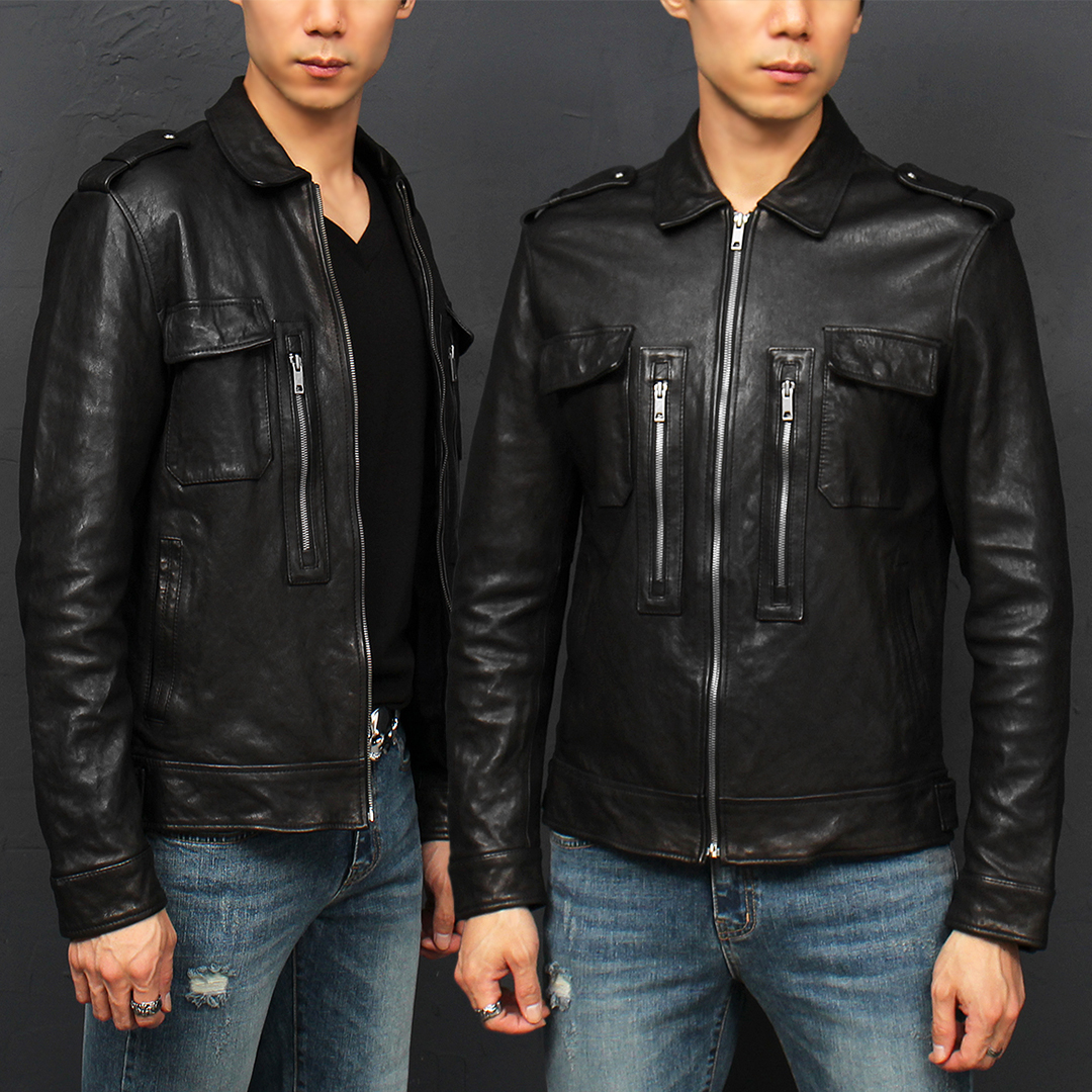 Flap Pocket Zippered Lambskin Leather Rider Jacket 009