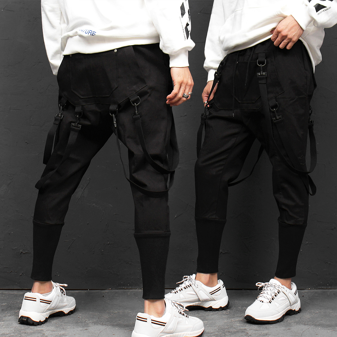 Buckle Strap Kangaroo Pocket Long Ribbed Hem Pants 019