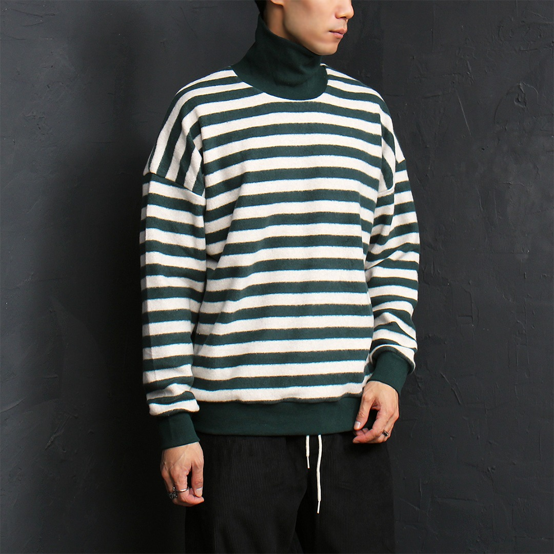Loose Fit Fleecy Striped High Neck Long Sleeve Tee 069